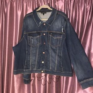 Lane Bryant distressed denim jacket